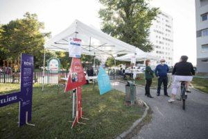"""Réaménagement des espaces extérieurs du quartier du Wihrel à Ostwald avec l'appui du projet artistique """"Signature""""de l'Eurométropole visant à mettre en valeur les opérations immobilières du territoire en soutenant l'emploi de talents créatifs."""